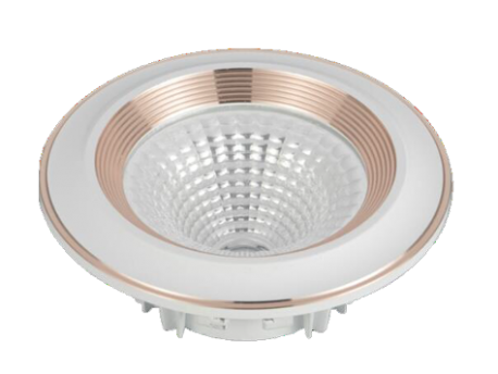 Led Spot Fixture 5W - Frame Color White + Gold Red - Clear Glass COB - White Light