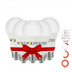 LED Bulb 9W - 3 Step Lighting Intensity - Value Pack 5 Pcs