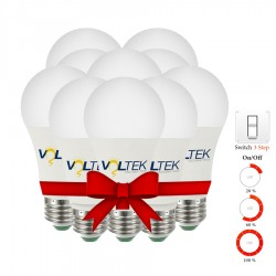 LED Bulb 9W - 3 Step Lighting Intensity - Value Pack 10 Pcs