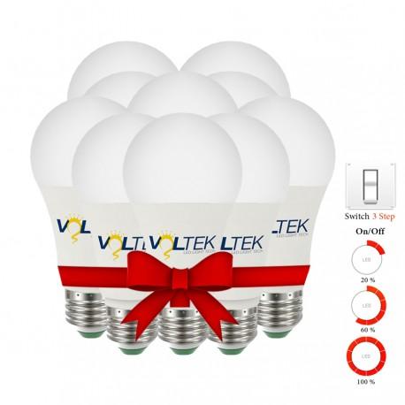 LED Bulb 9W - 3 Step Lighting Intensity - Value Pack 5 Pcs